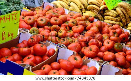 French market selling vegetables and fruits. - stock photo