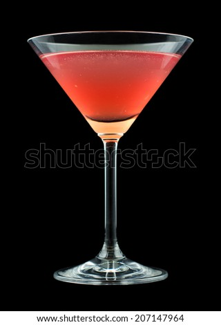 French Martini cocktail, consisting of vodka, raspberry liqueur and freshly squeezed pineapple juice. Isolated on black background. - stock photo