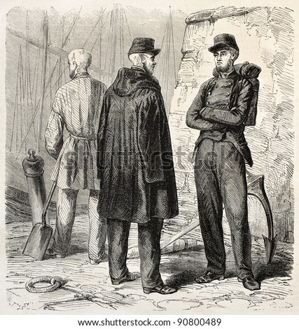 French military convicts in Algiers. Created by Gaildrau, published on L'Illustration, Journal Universel, Paris, 1858