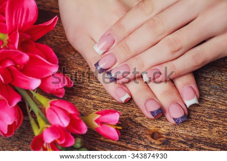French Nail Art Purple Color On Stock Photo Royalty Free 343874930