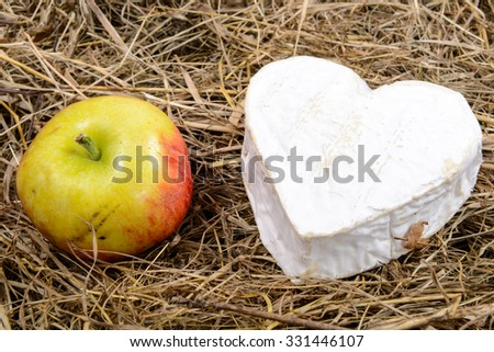 French Neufchatel cheese heart-shaped, with an apple on straw