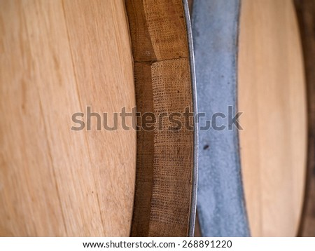 French Oak Wine barrels in a traditional winery - stock photo