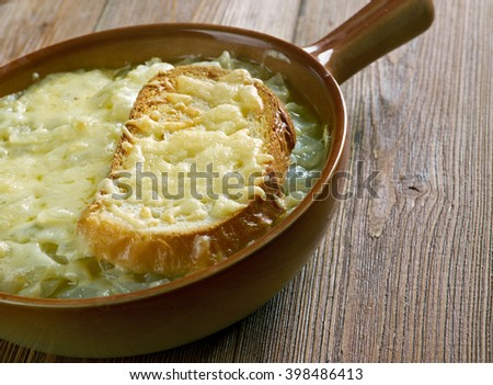 French onion rustic soup - soup usually based on meat stock and onions.