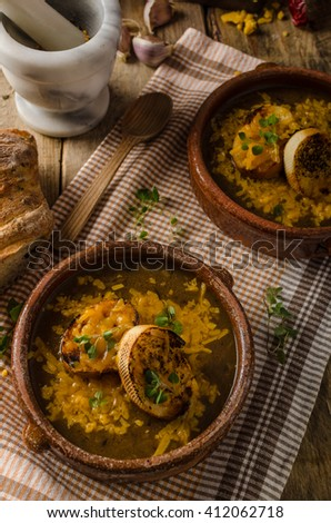 French onion soup rustic styled photo, with toasted bread and melted cheese on the top - stock photo