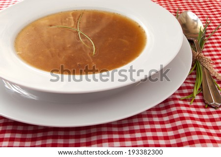French onion soup with bread - stock photo