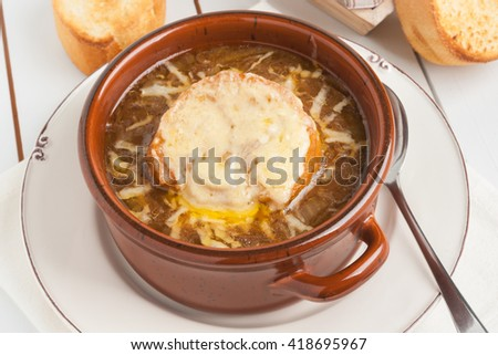 French onion soup with grilled gruyere cheese croutons