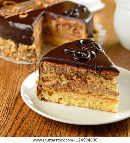 French opera cake on a brown table