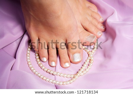 French pedicure for woman cosmetic - stock photo