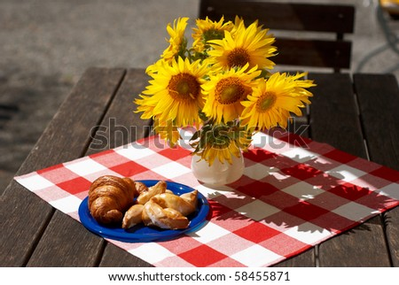french picnic with croissant - stock photo