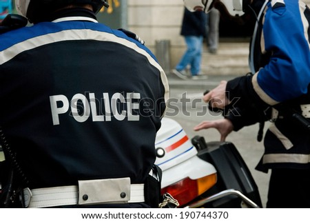 French police in Paris  - stock photo