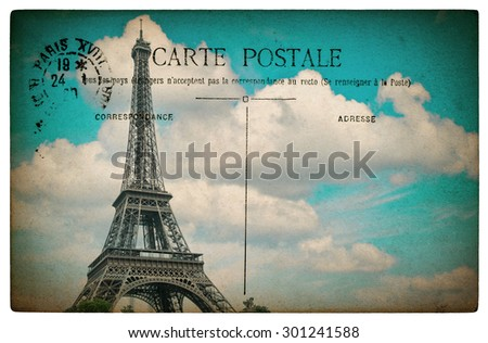 French postcard from Paris with landmark Eiffel Tower and blue sky. Retro style paper background - stock photo