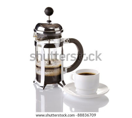 French press coffee maker on white background with reflection - stock photo