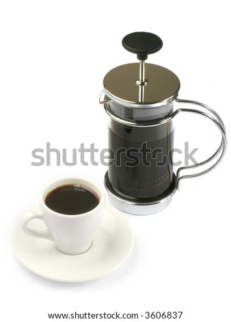 french press coffee with full cup - stock photo