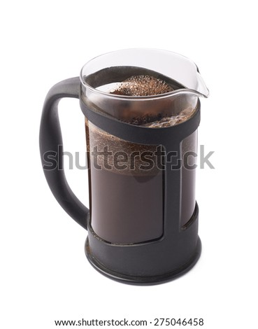 French press pot coffee maker filled with the fresh brew coffee, composition isolated over the white background - stock photo