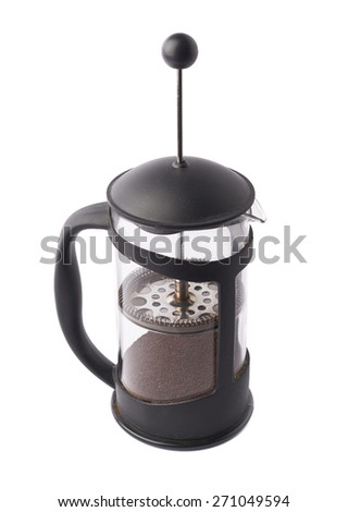 French press pot coffee maker filled with the ground coffee, composition isolated over the white background - stock photo