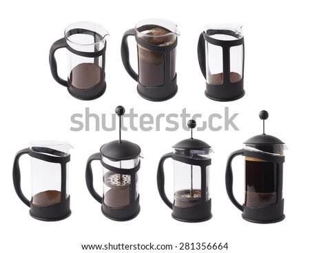French press pot coffee maker isolated over the white background, set of multiple different foreshortenings - stock photo