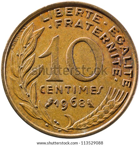 French Republic Coin, Fifth Republic 10 Centimes