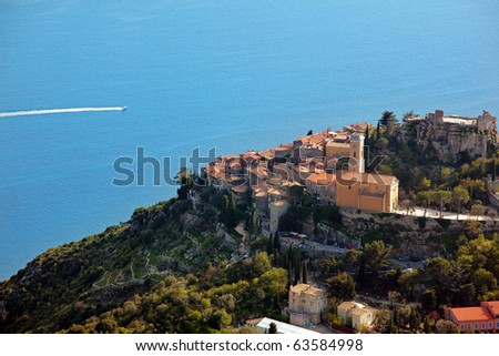French Riviera: a view of Eze village: This medieval village is tourist attraction. On the Mediterranean sea, between Nice and Monaco. - stock photo