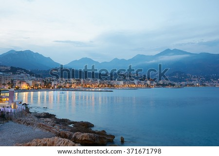 French riviera coast illuminated in the evening, Cap Martin