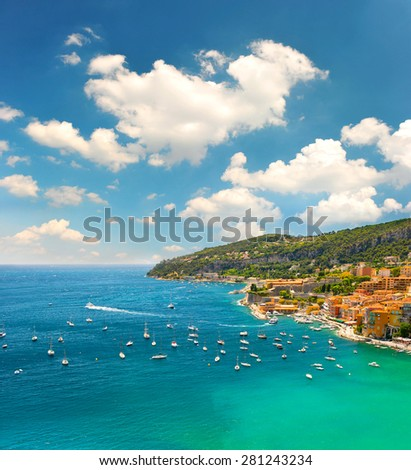 French riviera, Mediterranean Sea. View of luxury resort and costline of Villefranche by Nice. Summer holidays background with beautiful blue sky - stock photo