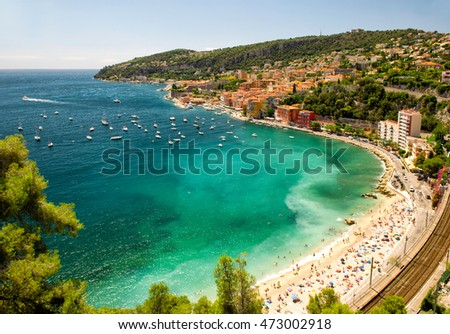 French riviera, Mediterranean Sea. View of Villefranche by Nice. Summer holidays background with beautiful blue sky