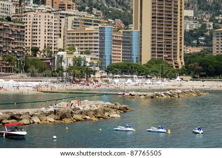 French riviera. Monte Carlo beach. - stock photo