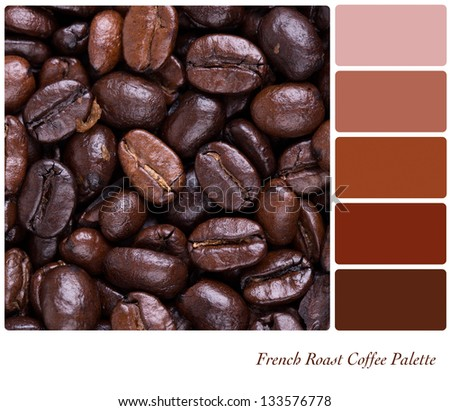 French Roast bean colour palette with complimentary swatches. Part of a series of five images showing grades of roasted coffee. - stock photo