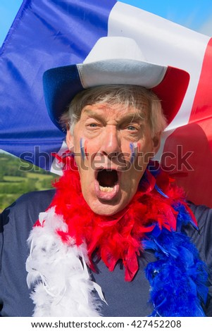 French soccer fan from les bleus in France - stock photo