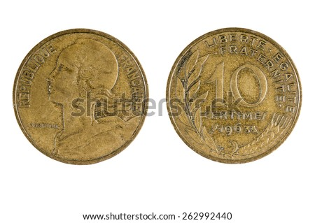 French 1963 Ten (10) Centimes coin