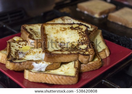 French toast being cooked