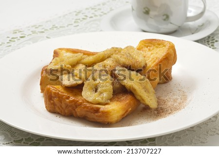 French toast topped baked banana