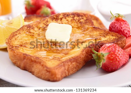 french toast with butter and honey - stock photo
