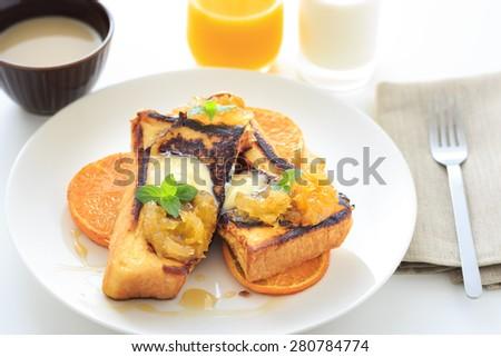 French toast with caramelized orange - stock photo