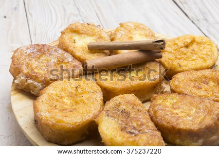 French toasts. Traditional Spanish torrijas