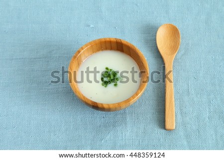 "French Traditional Cold Potato Soup ""Vichyssoise"" with Blue Natural Linen - stock photo"