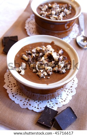 French traditional dessert - black chocolate mousse with grated soft black and white chocolate, close up - stock photo