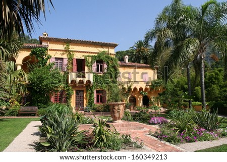 French Villa on the Cote D'Azur. Beautiful gardens surround this luxury villa.