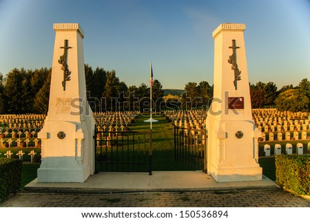 French war cemetery in Picardy, France - stock photo