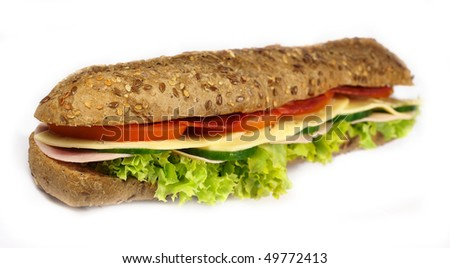 French wholemeal baguette sandwich on white background