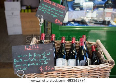 French wine on sale at the market of Rue Mouffetard