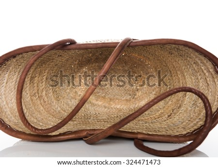 French Woven Basket on White Background