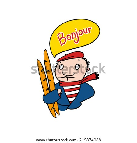 Frenchman saying bonjour illustration; Man holding baguettes drawing