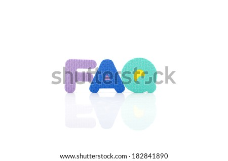 Frequently ask question concept, word faq in wordblock on white background - stock photo