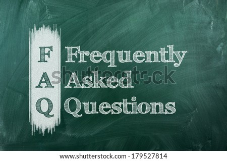 frequently asked question (FAQ) concept for website service on chalkboard  - stock photo