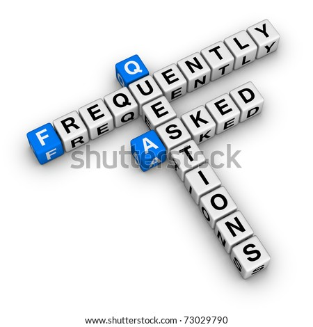 Frequently Asked Questions crossword puzzle isolated on white background