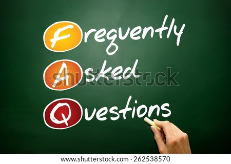 Frequently Asked Questions (FAQ), business concept acronym on blackboard - stock photo