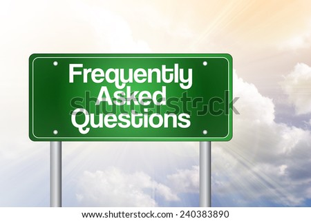Frequently Asked Questions (FAQ) Green Road Sign, Business Concept  - stock photo