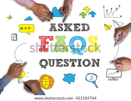 Frequently Asked Questions Faq on white background. - stock photo