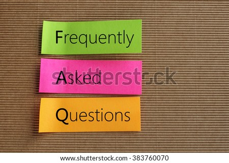 Frequently Asked Questions text on colorful sticky notes - stock photo