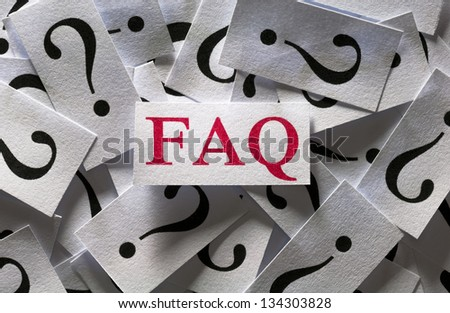 Frequently asked questions , too many question marks - stock photo